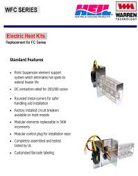 15 kw breakered heat strip for heil air handlers fcv fcp fcx ef equipment features