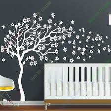 new arrival huge white tree flowers wall decal nursery tree and birds wall art baby kids on flower wall art for nursery with new arrival huge white tree flowers wall decal nursery tree and