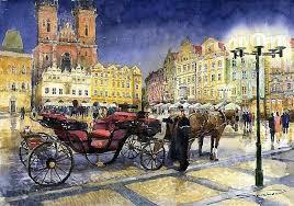 yuriy shevchuk artwork prague old town square original watercolor cityscape art