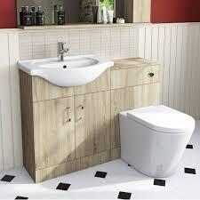 Light Oak Bathroom Furniture Sienna Oak Arc Combination Vanity Unit Small Victoria Plumb