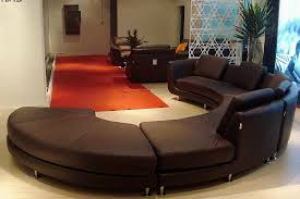 roller espresso leather sectional round sofa