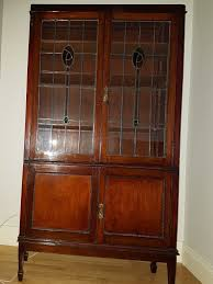 antique stained glass door cabinet