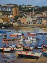 england cornwall st ives boats harbour beach oil painting british art on canvas wall decoration art