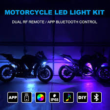 Where To Place Led Lights On Motorcycle Tachico 12pcs Motorcycle Led Light Kit Strips App Rf Wireless Under Glow Lights Atmosphere Multi Color Lamp With Remote Controller For Harley Davidson