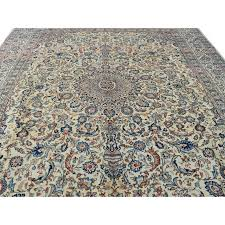 384 x 401 fine kashan unique design handmade cream blue brown green persian traditional rug