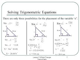7 lesson 7 5 right triangle trigonometry 7 solving trigonometric equations