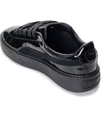 puma basket platform patent black shoes womens