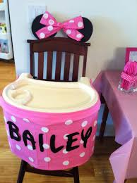 minnie mouse birthday party high chair skirt too cute