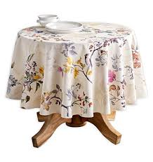maison d hermine equinoxe 100 cotton beige tablecloth 63 inch round perfect for thanksgiving and