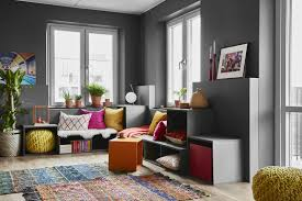 colorful living rooms. Colorful Living Room With Gray Walls Rooms