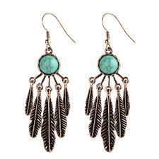 feather earrings hippie chic aritos navajo earrings tribal chandelier earrings indian native american jewelry cowgirl in drop earrings from jewelry