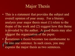 a guide to he literary analysis essay writing terms defined ppt  major thesis this is a statement that provides the subject and overall opinion of your essay