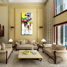 Paintings For Living Room Decor Aliexpresscom Buy Skill Painter 100 Handmade Street Rain