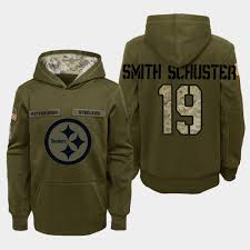 2018 Salute To Smith-schuster Steelers - Juju Youth Hoodie Service Olive