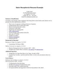Confortable Resume For Receptionist In Hair Salon Also Salon ...