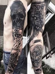 рукав мужская черно серая татуировка сделать тату у мастера вики