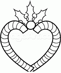 Small Picture How to Draw a Candy Cane Heart Step by Step Christmas Stuff