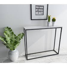 narrow sofa table. Roomfitters Sofa Console Table Marble Print Top Metal Frame Accent White Narrow Foyer Hall Table, M
