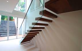 stainless steel railing glass panel indoor for stairs montague