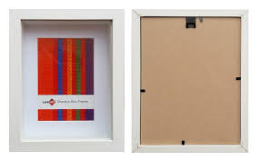 27 9x35 6cms white wood shadow box frame mat fits 20x25cms pic and clear glass