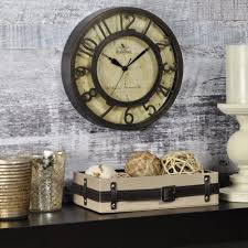 firstime 8 in x 8 in round bronze raised number wall clock