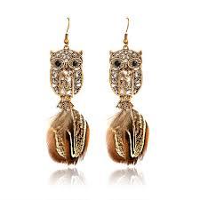 <b>Fashion Jewelry</b> Women's Owl <b>Feather Alloy Pendant</b> Earrings Gift ...