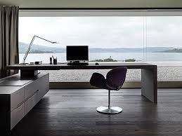 Luxury Modern Home Office Desks With Home Office Desk With Wooden Floor And  Wide Glass Window With Sea Panorama And Modern Computer Chair And Hanging  Shelf