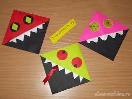 <b>Закладки</b> для книг в технике <b>оригами</b> «<b>Монстрики</b>»