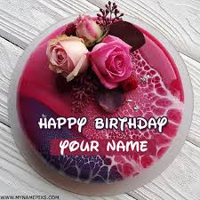Write Name On Happy Birthday Pink Cake For Twins Sister