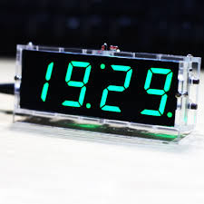 compact 4 digit diy digital led clock kit light control temperature date time display with transpa case in instrument parts accessories from home