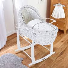 Clair De Lune White Willow Bassinet Moses Basket  Lullaby Hearts