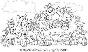 black and white animal clipart group. Cartoon Dog And Cats Pet Group Color Book Black White Animal Clipart