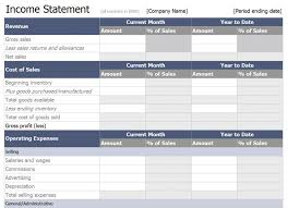 profit and loss excel spreadsheet income statement template