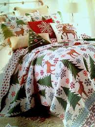 details about twin size quilt and sham trees reindeer snowflake holiday bedding set