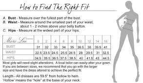Wedding Dress Size Chart Size Chart For The Mori Lee Ball Gowns And Prom Dresses