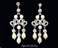large crystal chandelier earrings crystal chandelier earrings wedding bridal pearl vintage style rhinestone earring ear large