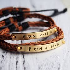 custom gifts 1 year anniversary gifts couple bracelets personalized bracelet braid leath