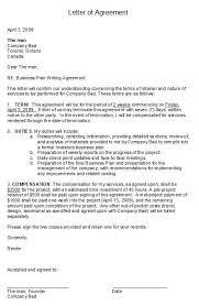 printable sample letter of agreement form business agreement sample letter