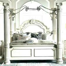 White Wood Bed Frame Queen Canopy Beds Amazing Size With Headboard ...