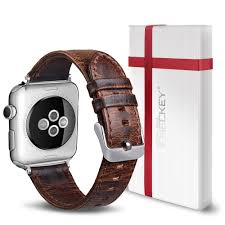 for apple watch band 38mm icheckey genuine leather iwatch strap replacement wristband with retro crazy horse texture for iwatch series 3 2 1