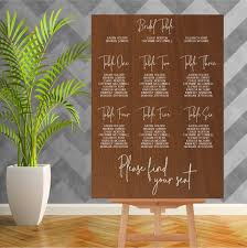 Seating Chart Wedding Wood Wedding Seating Chart 900mm X 600mm Single Colour Sea002
