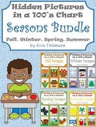 Hidden Pictures In A 100s Chart Seasons Bundle Fall Winter Spring Summer
