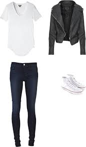 white tee leather jacket skinny jeans and white converse