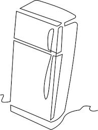 refrigerator clipart black and white.  Black Refrigerator Kitchen Clipart With Black And White