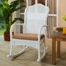 c coast white resin wicker rocking chair with khaki black resin wicker rocking chair
