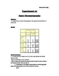 Chromatography Lab Chem Lab Report Paper Chromatography A Level Classics