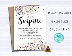 Confetti Birthday Invitation Surprise Party Invitation Birthday Party Template Printable Diy Party Invitation Instant Download