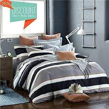 grey striped duvet cover set king size with black white stripes for boys men soft reversible black white striped bedding