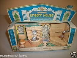 plastic dollhouse furniture sets. closeup of the blue box dream house bathroom set in its original plastic dollhouse furniture sets r