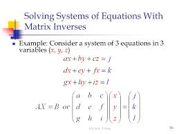 solving systems of equations with matrix inverses
